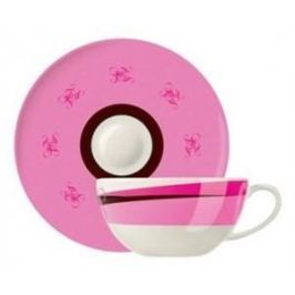 Filiżanka do kawy i herbaty porcelanowa ze spodkiem RITZENHOFF GUNTHER RÓŻOWA 330 ml