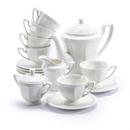 Serwis kawowy porcelanowy DUO CASSETTE BIAŁY na 6 osób (15 el.)