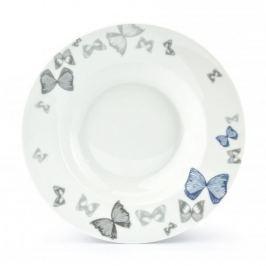 Talerz obiadowy głęboki porcelanowy FLORINA BUTTERFLY BIAŁY 22 cm Talerze