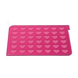 Mata do makaroników silikonowa i rękawiczki SILKOMART HEARTS RÓŻOWA 40 x 30 cm
