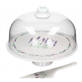 Patera stała na ciasto porcelanowa DUO LAVENDER 27,5 cm - stojak na tort z kloszem