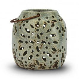 Lampion ozdobny ceramiczny DUO LOTOS NIEBIESKI 11,5 x 12 cm