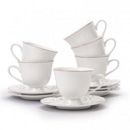 Filiżanki do kawy i herbaty porcelanowe ze spodkami FLORINA TALA BIAŁE 200 ml 6 szt.