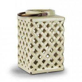 Lampion ozdobny ceramiczny DUO WELL KREMOWY 26 cm