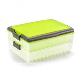 Pojemnik na ciasto dwupoziomowy plastikowy DOMOTTI DOLCE PODWÓJNY ZIELONY 39 x 28,5 cm Pojemniki kuchenne