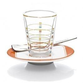 Szklanka termiczna do latte z podwójną ścianką szklana ze spodkiem i łyżeczką RITZENHOFF BACINO SHALEV 70 ml