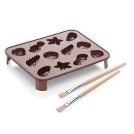 Forma do 12 czekoladek silikonowa z pędzelkami i stojakiem TESCOMA DELICIA CHOCO BRĄZOWA