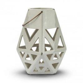 Lampion ozdobny ceramiczny DUO STAR BIAŁY 28 cm