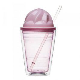 Kubek plastikowy ze słomką SAGAFORM SWEET RÓŻOWY 350 ml