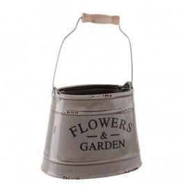 Doniczka na kwiaty ceramiczna FLOWERS AND GARDEN SZARA 17 x 13 cm
