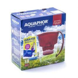 Dzbanek do filtrowania wody plastikowy AQUAPHOR PROMO AMETHYST CZERWONY 2,8 l + wkład i butelka
