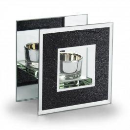 Świecznik tealight szklany DUO BLACK GLITTER CZARNY 11 cm