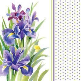 Serwetki papierowe dekoracyjne BLUE IRIS BIAŁE 20 szt.