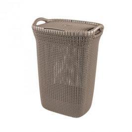 Brudownik / Kosz na pranie i bieliznę plastikowy CURVER KNIT WYSOKI BRĄZOWY 57 l