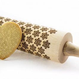 Wałek dekoracyjny do ciasta drewniany ANAPOL PŁATKI ŚNIEGU