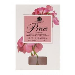 Świeczki zapachowe tealihgt woskowe PRICE'S CANDLES SOFT GERANIUM RÓŻOWE 6 szt.