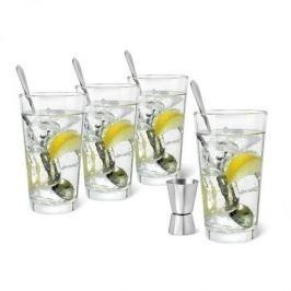 Szklanki do drinków szklane z łyżeczkami i miarką barmańską LEOPOLD GIN I TONIC 4 szt.