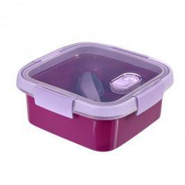 Lunch box plastikowy ze sztućcami CURVER SMART TO GO KWADRATOWY FIOLETOWY 0,9 l