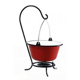 Kociołek do gulaszu i zupy na stół emaliowany ze stelażem i podgrzewaczem GULASZ CZERWONY 0,8 l