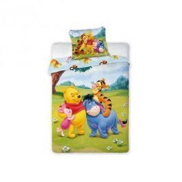 Pościel do łóżeczka niemowlęca bawełniana FARO DISNEY KUBUŚ PUCHATEK I PRZYJACIELE WIELOKOLOROWA 100 x 135 cm