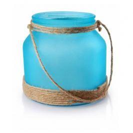 Lampion ozdobny szklany MONDEX NESS NIEBIESKI 15 cm
