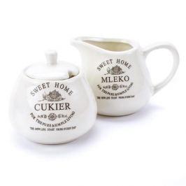 Cukiernica i mlecznik ceramiczne SWEET HOME SUGAR KREMOWE 200 ml