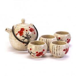 Dzbanek do herbaty i kawy ceramiczny z 4 czarkami JAPONIA KREMOWY 0,8 l
