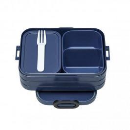 Lunch box plastikowy z dwoma pojemnikami i widelcem MEPAL TAKE A BREAK GRANATOWY 0,9 l