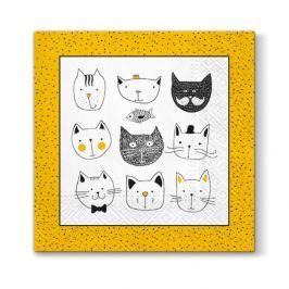 Serwetki papierowe dekoracyjne PAW FUNNY CATS ŻÓŁTE 20 szt.