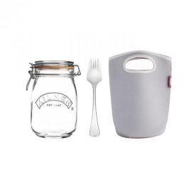 Słoik szklany typu weck z pokrowcem i łyżeczką KILNER MAKE AND TAKE 1 l