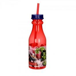 Butelka dla dzieci plastikowa ze słomką MARVEL AVENGERSCZERWONA 0,5 l