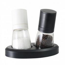 Młynki do pieprzu i soli plastikowe ręczne z podstawką VIALLI DESIGN LIVIO CZARNE 2 szt.