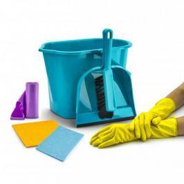 Wiadro do mopa plastikowe z z akcesoriami do sprzątania PRAKTYCZNA TRURKUSOWE 10 l (7 el.)