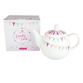 Dzbanek do herbaty i kawy z zaparzaczem porcelanowy ASHDENE CANDY LANE BIAŁY 0,6 l