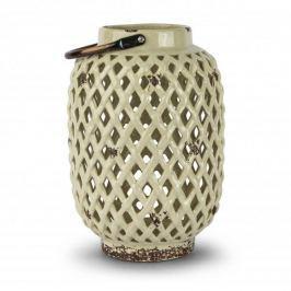 Lampion ozdobny ceramiczny DUO DIAMOND KREMOWY 28,5 cm