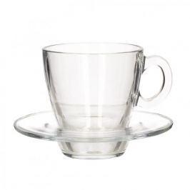 Filiżanki do kawy i herbaty szklane ze spodkami PASABAHCE 250 ml 6 szt.