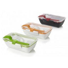 Lunch box plastikowy ze sztućcami i pojemnikiem na sos BLACK BLUM BENTO BOX POMARAŃCZOWY 0,5 l