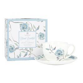 Filiżanka do kawy i herbaty porcelanowa ze spodkiem ASHDENE BLOOM BEAUTIUL BIAŁA 250 ml