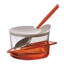 Cukiernica z łyżeczką szklana BUGATTI GLAMOUR POMARAŃCZOWA 11,5 cm