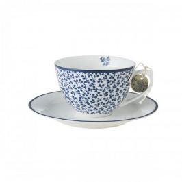 Filiżanka do kawy i herbaty porcelanowa ze spodkiem LAURA ASHLEY FLORIS NIEBIESKA 250 ml