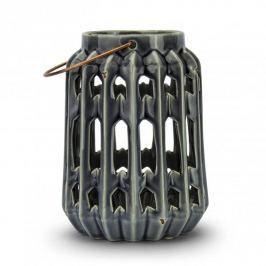 Lampion ozdobny ceramiczny DUO AŻUR NIEBIESKI 15 x 20 cm