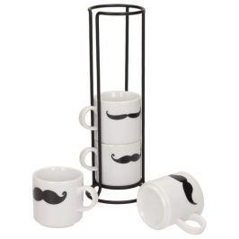Filiżanki do kawy i herbaty porcelanowe na stojaku INVOTIS MUSTACHE BIAŁE 150 ml 4 szt.