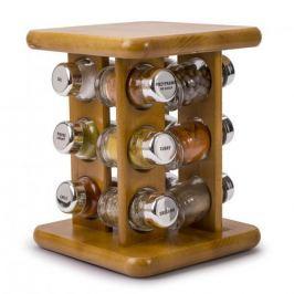 Półka na przyprawy z 12 pojemnikami stojąca obrotowa drewniana KRYSTYNKA ROTATIVO LIGHT