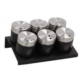 Półka na przyprawy z 6 pojemnikami stojąca metalowa FLORINA CONTA BLACK