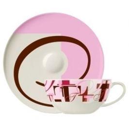 Filiżanka do kawy i herbaty porcelanowa ze spodkiem RITZENHOFF SCHULTING RÓŻOWA 330 ml