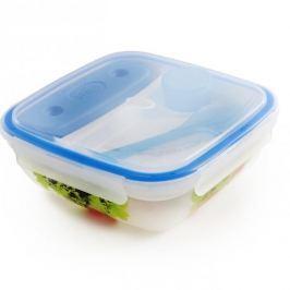 Lunch box plastikowy trzykomorowy z wkładem chłodzącym i sztućcami SNIPS TAKE AWAY 1,5 l