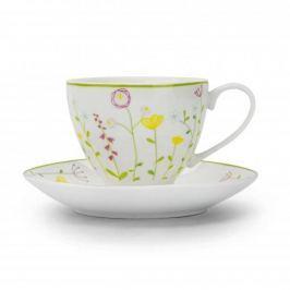 Filiżanka do kawy i herbaty porcelanowa ze spodkiem POLNE KWIATY BIAŁA 200 ml