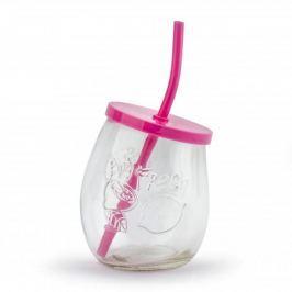 Szklanka do napojów szklana ze słomką FRESH RÓŻOWA 400 ml