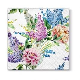Serwetki papierowe dekoracyjne PAW SPRING LILAC BIAŁE  20 szt.