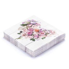 Serwetki papierowe dekoracyjne PAW SERCE Z RÓŻ JASNY RÓŻOWY 20 szt.